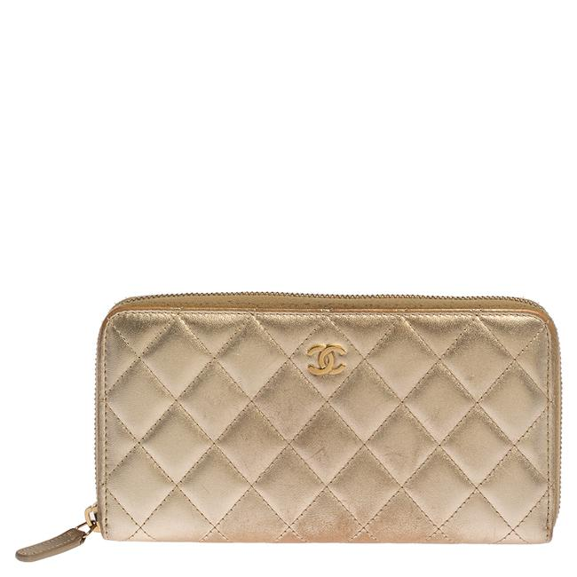 Item - Gold Quilted Leather Cc Zip Around Wallet