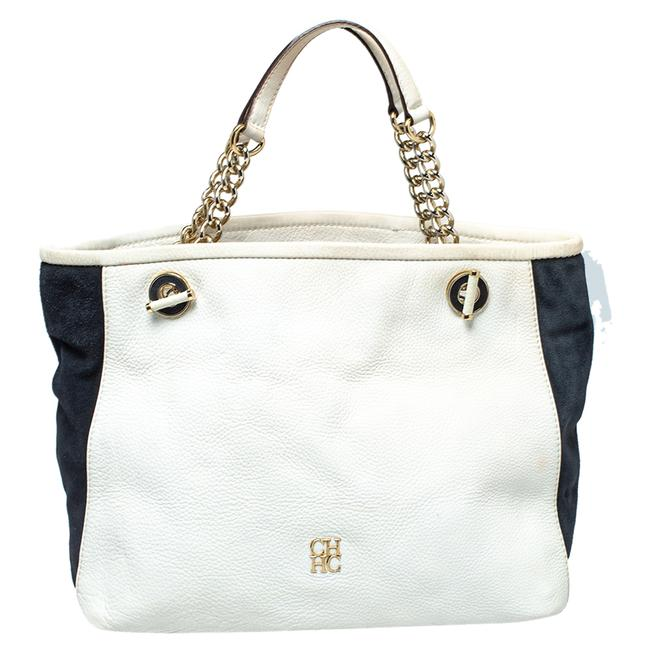 Item - White/Blue Textured Leather and Suede Tote