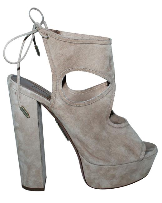 Item - Nude Block Sandals In Suede Formal