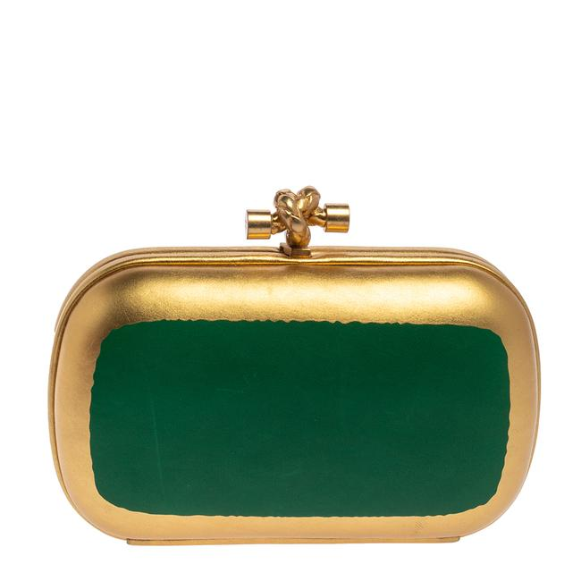 Item - Gold/Green Gilded Waxed Leather Knot Clutch