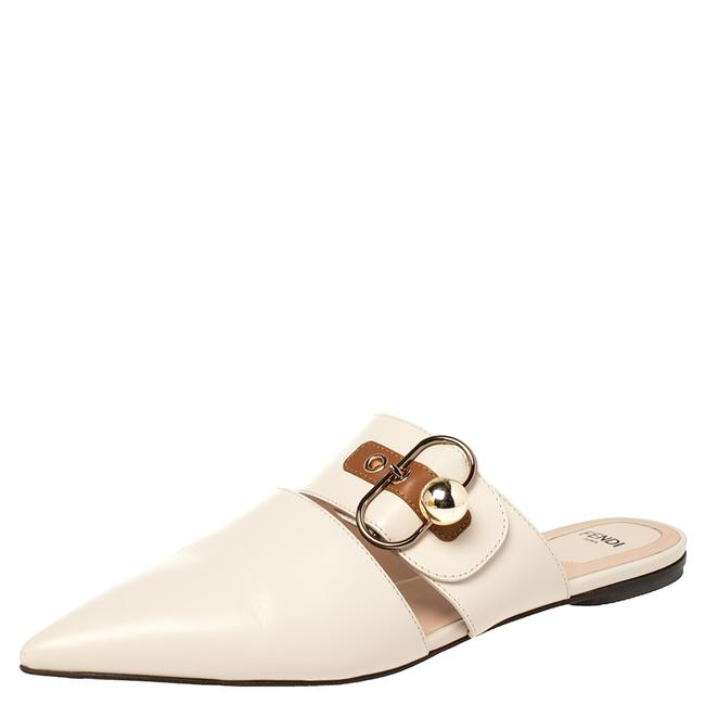 Item - Cream Leather Buckle Detail Mules Size 39 Flats