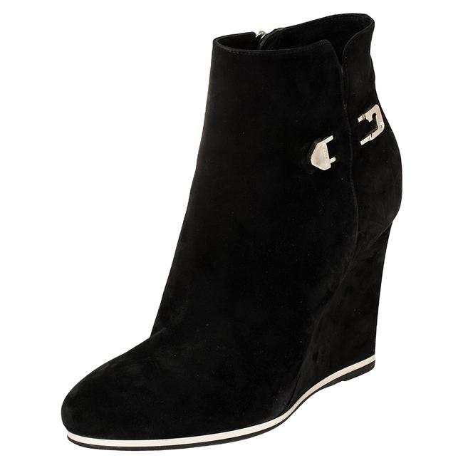 Item - Black Suede Wedge Ankle Size 40 Boots/Booties