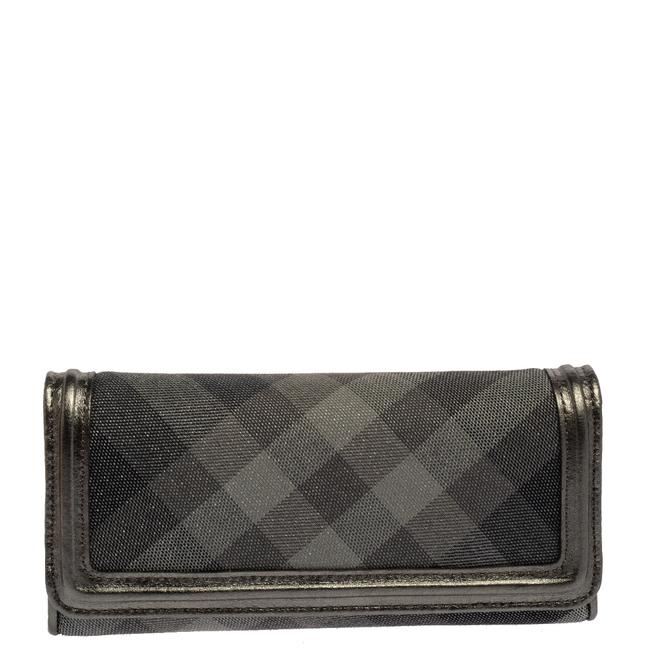 Item - Metallic Grey Smoke Check Canvas and Leather Flap Continental Wallet