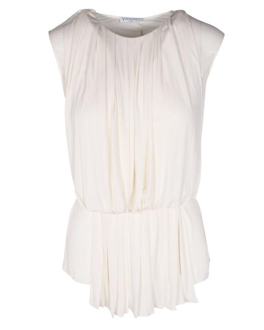 Item - White Silk Draped Top -pre Owned Condition Good It38 Blouse