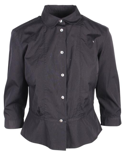 Item - Black Cotton Shirt with Three Quarters Sleeves -pre Owned Blouse