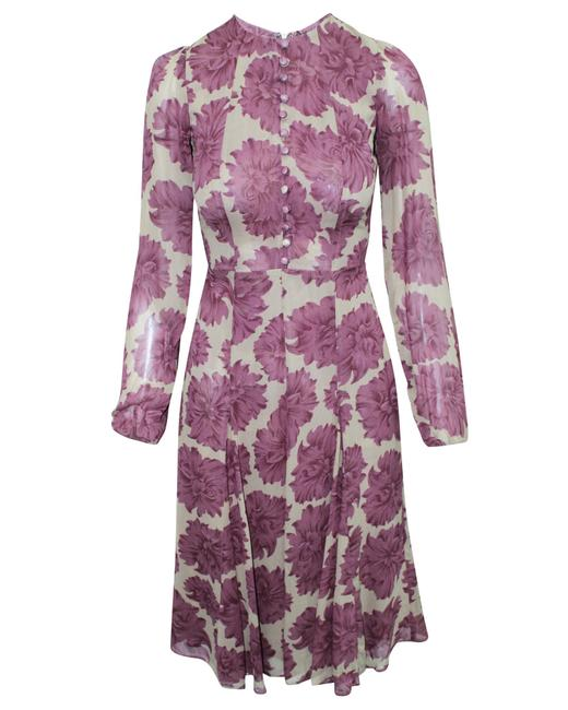 Item - Long Purple Print with Buttons -pre Owned Condition Formal Dress