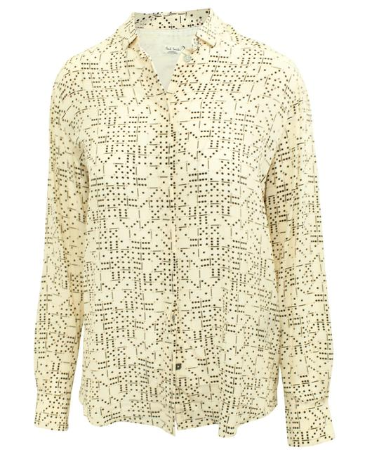 """Item - Beige """"Domino Print"""" Silk -pre Owned Condition Very Tee Shirt"""