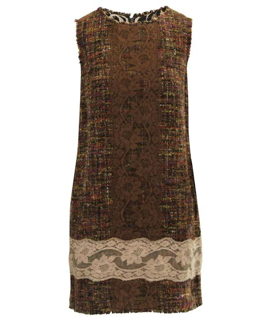 Item - Dolce & Gabbana Tweed & Lace Multifabric -pre Owned Condition Cocktail Dress