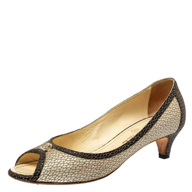 Item - Two Tone Textured Leather Open Toe Cc Size 38 Pumps