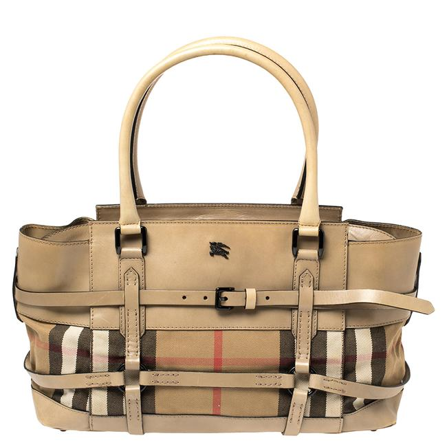 Item - Leather and House Check Canvas Bridle Satchel