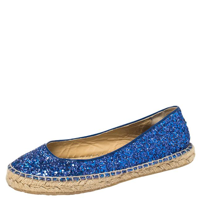 Item - Blue Glitter and Patent Leather Espadrilles Size 38.5 Flats