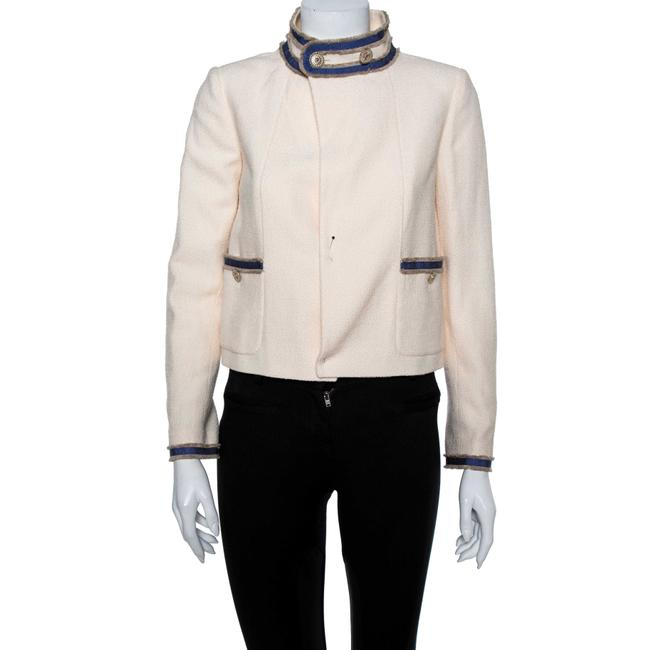Item - Cream Boucle Stand Collar Button Detail Jacket