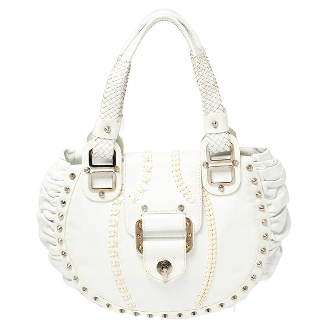 Item - Shoulder Bag White Leather Woven Handle and Spike Studded Tote