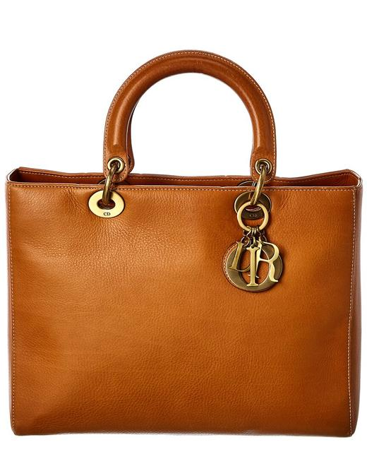 Item - Lady Pre-owned Brown Calfskin Leather Medium 7601-1 Tote