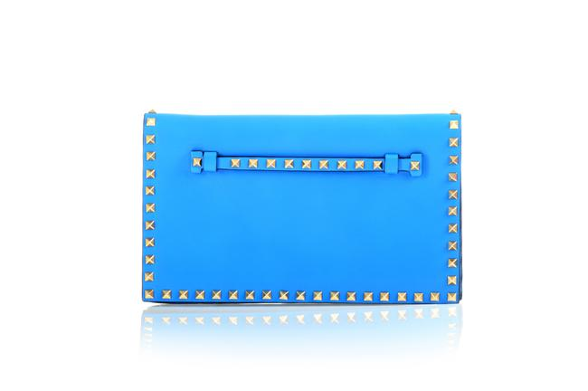 Item - Electric Blue Leather Gold Rockstud -pre Owned Clutch