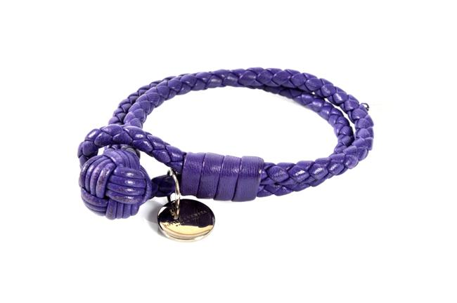 Item - Purple Leather Braided Bracelet -pre Owned Condition Jewelry
