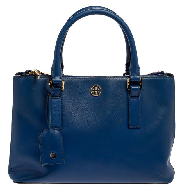 Item - Robinson Blue Leather Square Double Zip Tote