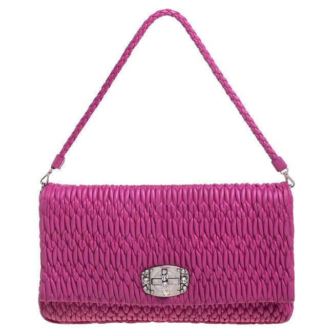 Item - Fuchsia Matelassé Leather Crystal Flap Shoulder Bag