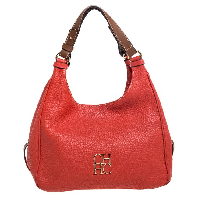 Item - Red Grain Leather Hobo Bag