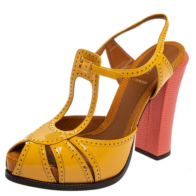 Item - Yellow Patent Leather Chameleon Block Size 40 Sandals