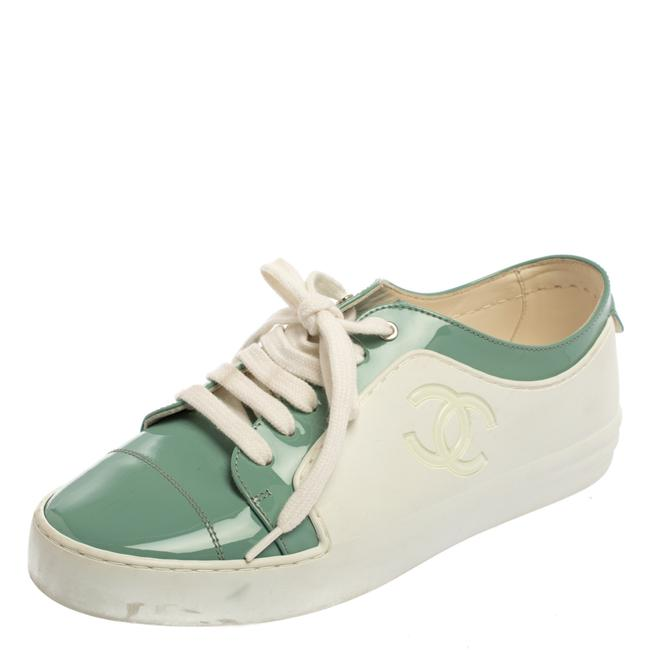 Item - Green/White Rubber and Patent Leather Cc Low Top Sneakers Size 37 Athletic