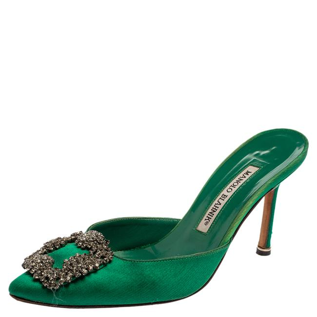 Item - Royal Green Satin Hangisi Pointed Toe Mules Size 36.5 Sandals