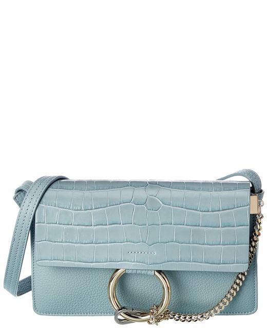 Chloé Faye Small Croc-embossed Leather Chc20ss127 C26 44l Shoulder Bag Chloé Faye Small Croc-embossed Leather Chc20ss127 C26 44l Shoulder Bag Image 1