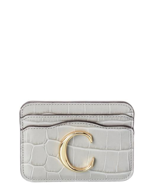 Item - C Croc-embossed Leather Card Holder Chc19up085 A87 039 Wallet
