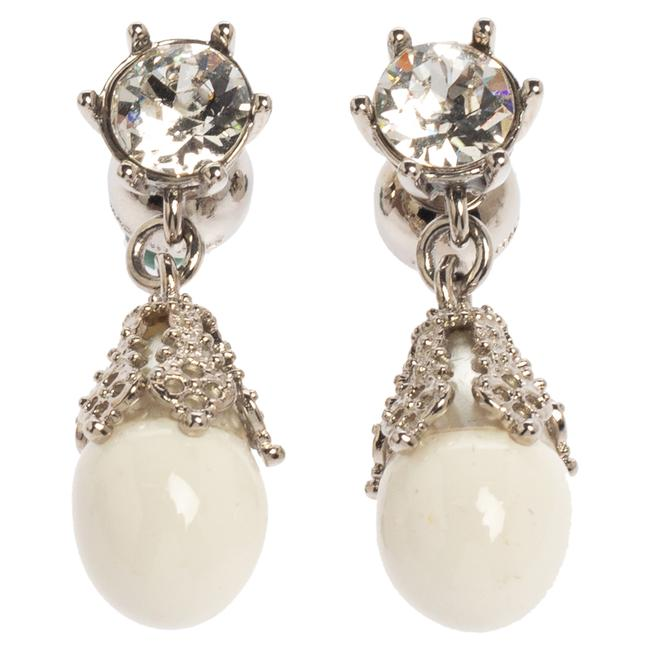 Burberry Palladium Plated White Faux Pearl Teardrop Earrings Jewelry Burberry Palladium Plated White Faux Pearl Teardrop Earrings Jewelry Image 1