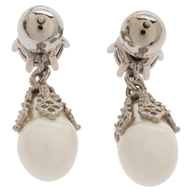 Burberry Palladium Plated White Faux Pearl Teardrop Earrings Jewelry Burberry Palladium Plated White Faux Pearl Teardrop Earrings Jewelry Image 5