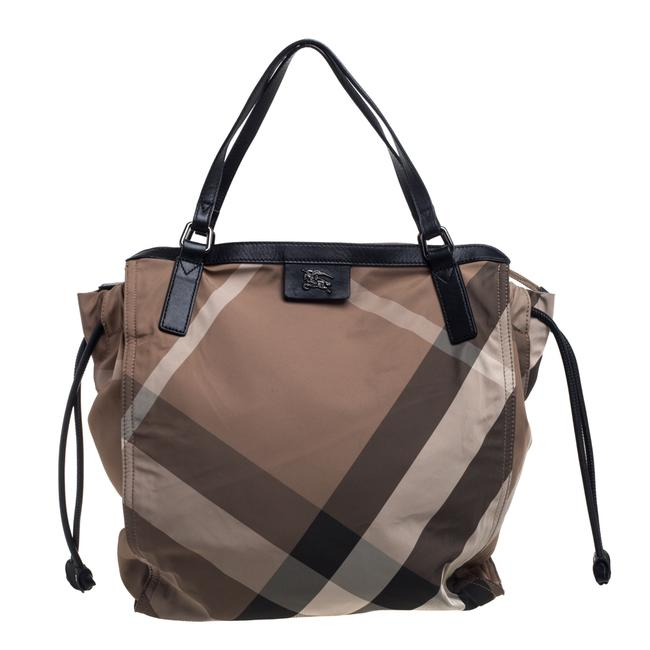 Item - Beige/Black Nova Check Nylon and Leather Buckleigh Tote