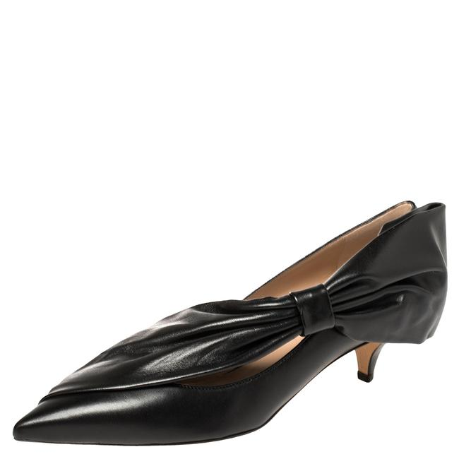 Item - Black Leather Bow Detail Pointed Size 40 Pumps