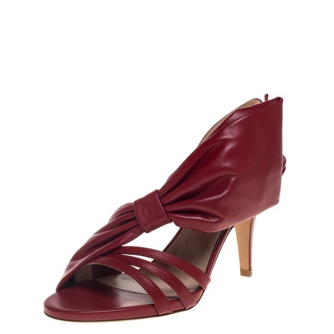 Item - Red Leather Side Bow Slingback Size 38.5 Sandals
