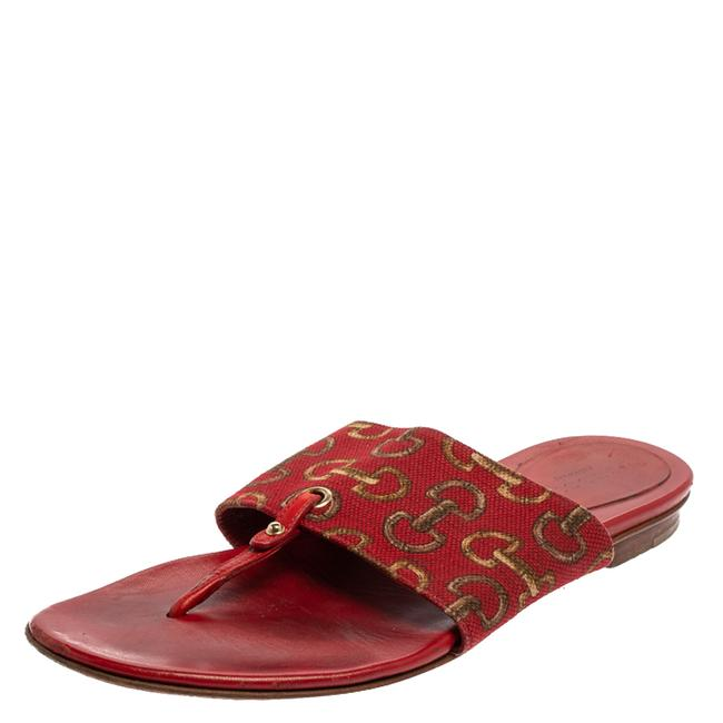 Item - Red Canvas and Leather Thong Flats Size 36.5 Sandals