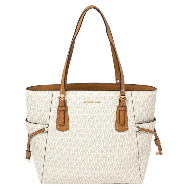 Item - White/Brown Signature Coated Canvas Voyager Tote