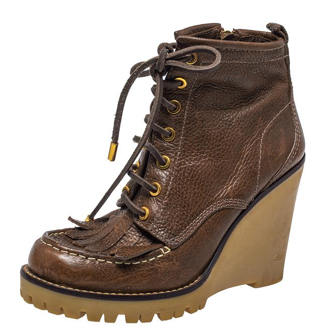 Item - Brown Leather Fringe Detail Wedge Derby Ankle Size 38 Boots/Booties