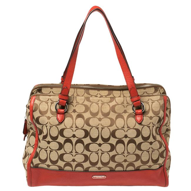 Item - Red/Beige Signature Canvas and Leather Satchel