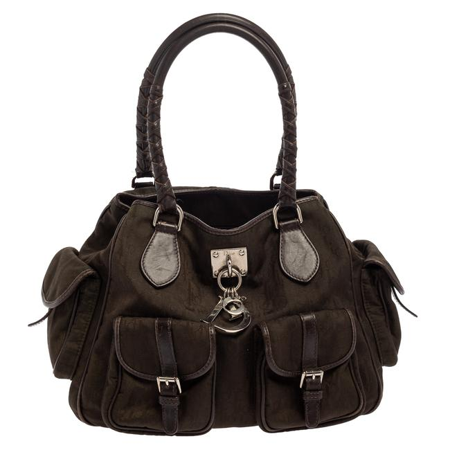 Item - Brown Oblique Canvas and Leather Multi Pocket Tote
