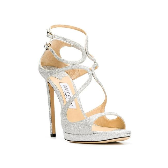 Item - Women's Glitter Leather Lance High Heel Sandal Silver Pumps