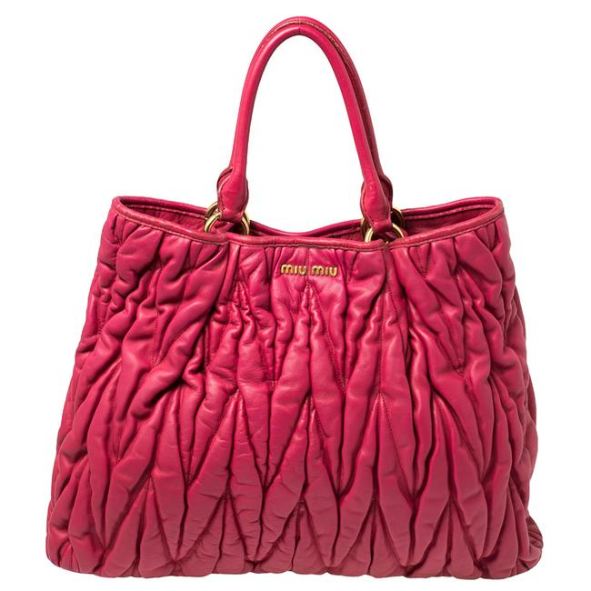 Item - Fuchsia Pink Matelasse Leather Tote
