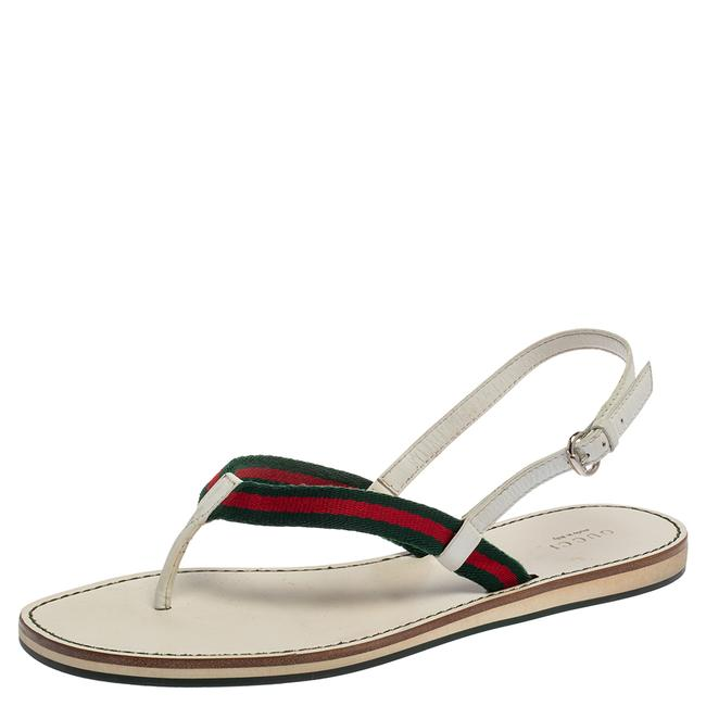 Item - Multicolor Web and Leather Thong Flat Size 39 Sandals