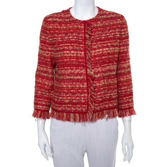 Item - Red & Beige Tweed Collarless Jacket