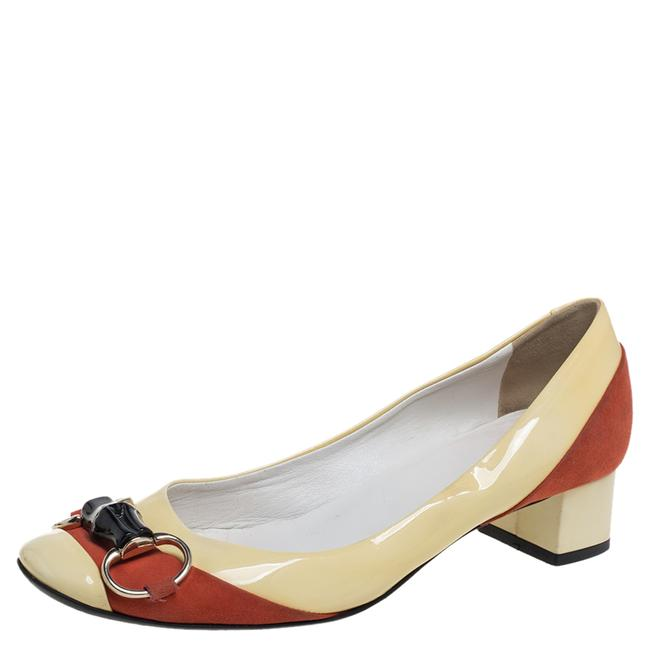 Item - Horsebit Yellow/Red Patent Leather and Suede Bamboo Round Size 37 Pumps