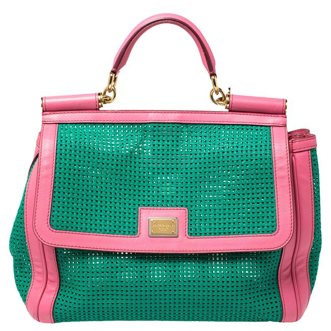 Item - Top Handle Bag Dolce & Gabbana Green/Pink Woven Raffia and Leather Large Miss Sicily Wristlet