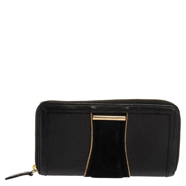 Item - Black Suede and Leather Zip Around Wallet