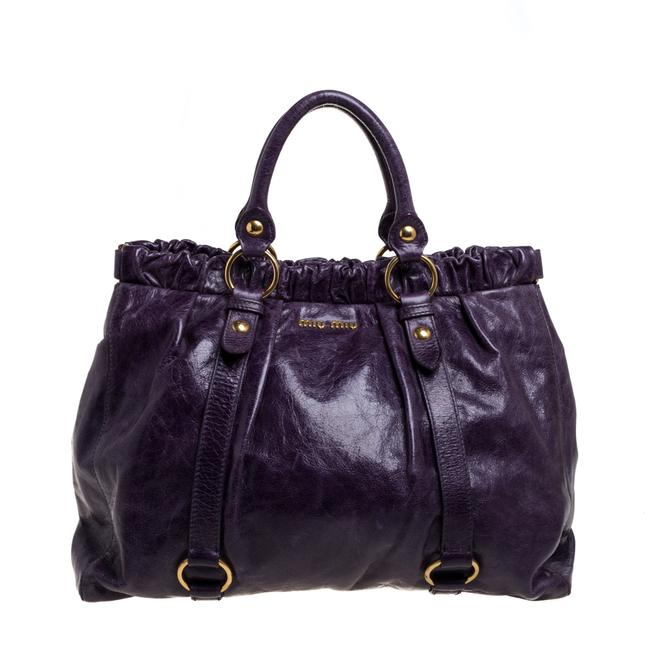 Item - Purple Leather Large Ruched Tote