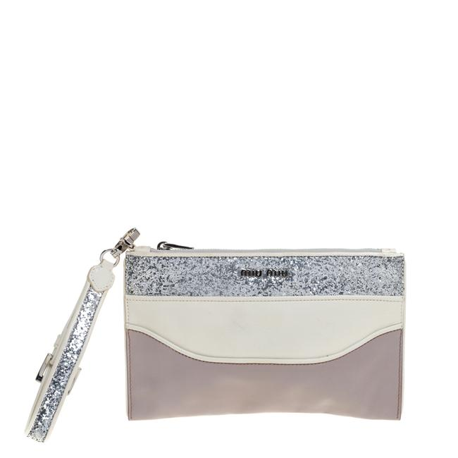 Item - Lilac/White Glitter Leather Wristlet Pouch Clutch