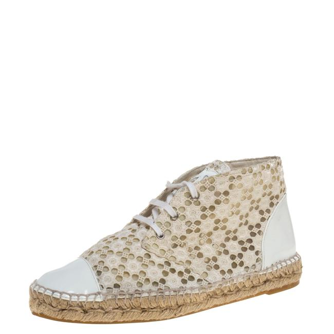 Item - White/Cream Eyelet Lace and Patent Leather Espadrilles Size 39 Athletic