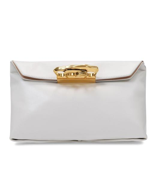 Item - Sculptural Pouch In White Smooth Leather Clutch