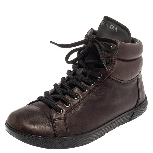 Item - Brown Leather High Top Sneakers Size 35 Athletic